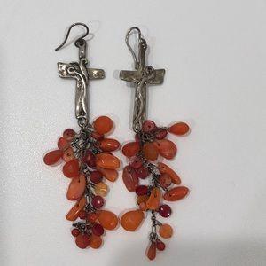 Cross Earrings w Dangling Beads